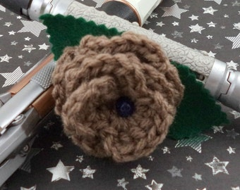 Crocheted Rose Hair Barrette - Copper with Blue Bead (SWG-HB-DWDA01)