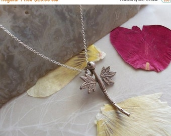 "ON SALE Thai Hill Tribe Silver Dragonfly Pendant on Delicate Sterling Chain Necklace ~ 18"" Length"