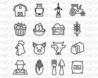 Farm SVG, dxf, png Cut File, Farm Icons, Farm Vector File, Farm Monogram, Tractor SVG, Rooster Weather Cow svg, Farm Animals Corn svg