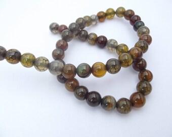 48 agate smooth round beads 8 mm ZIK-202-tinted dragon vein