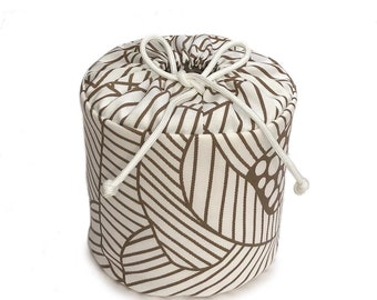 Modern Brown and White FLoral Geometric Fabric Spare Toilet Paper Cover Cozy Holder