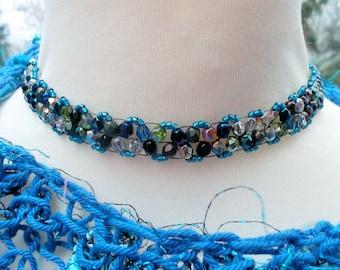Choker necklace Peyote beadwoven metallic blue silver peyote chain blue statement necklace firepolished czech beads