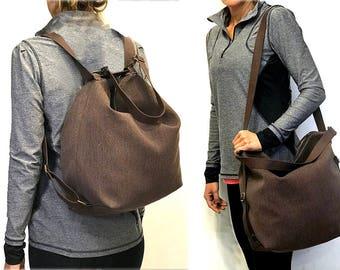 Sale!! Canvas backpack messenger bag women convertible Hobo backpack purse brown crossbody bag Hobo handbag Handmade non leather bag