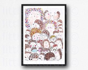 I love Hedgehogs Print Funny Animal Illustration Colorful Hedgehog Art Print Animal Wall Art Bedroom Wall Decor Unframed