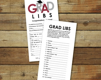 Grad Libs - Graduation mad lib advice cards, open house activity, graduation party activity, printable instant download, editable pdf