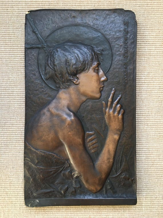 Antique Ernst Wahliss ceramic plaque St Johannes Baptista Turn Wein