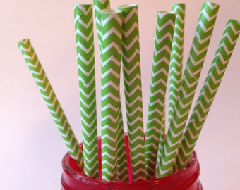 Green Chevron Paper Straws,  Paper Straws, Green Paper Straws, Chevron Paper Straws, Party Straws, Chevron Straws, Green Straws,10 pcs