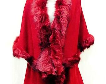 LUX Womens Ladies Celeb Faux Fur Double Layered Wrap Poncho Shawl Cape Cloak Winter Jacket Cool Kaftans Exclusive