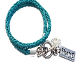 Silver Hope bracelet, turquoise leather wrap bracelet, friendship bracelet, girlfriend gift, women wrap bracelet, men leather bracelet