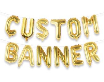 """CUSTOM BANNER 16"""" Gold Foil Letter Balloon Banner Kit"""