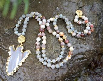 Crazy Lace Agate + Labradorite Mala Necklace with Gold-Edged Jasper Arrowhead