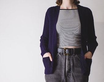 Jaeger ribbed knitted navy blue cardigan // classic // minimal // pockets // DEFECT- see description