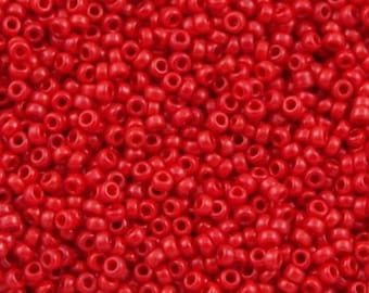 Japanese Miyuki 8/0 Seed Beads 408 Opaque Red. Red round Seed Beads. Picasso Seed Beads.