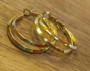 Double Ring Hoop  Goldtone Pierced Earrings