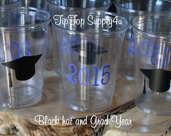 24 2018 black graduation hat  10 oz. 12 oz. or 16 oz. clear disposable cups. Graduation party. Congrats grad, Graduation decor. B-209 C-126