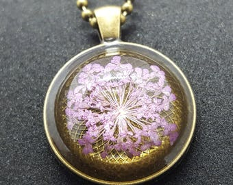 Necklace with cabochon pendant / resin pendant * purple dill blossom *