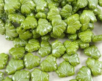 Maple Leaf Beads - Czech Glass Beads - Chartreuse Green Luster Maple Leaf, Green Leaf Beads (L/RJ-0442) -10x13mm - Qty. 8