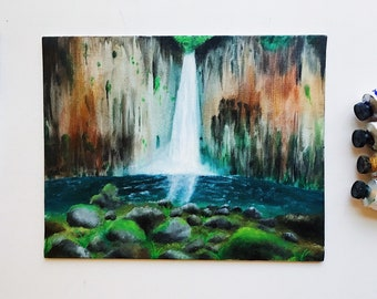 "Waterfall Original Oil Painting on 8""x10"" canvas panel"