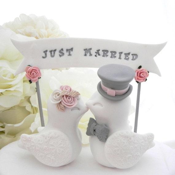 Wedding Cake Topper Love Birds, White, Dusty Pink and Grey, Custom Banner - Bride and Groom Keepsake