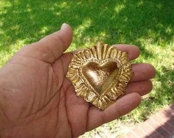Heart Charm Milagro Large Sacred Flamingt Deco Ex voto Nicho Style Gold Tone