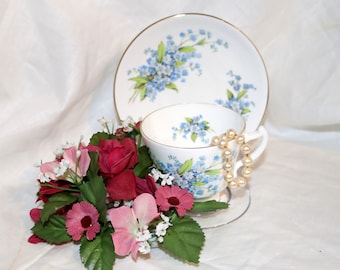 Vintage Staffordshire Fine Bone China Teacup & Saucer - Made in England - Blue Floral - English Tea Cup