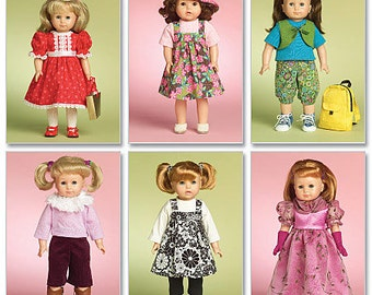 """McCall's Sewing Pattern M5554 Outfits for 18"""" Doll"""
