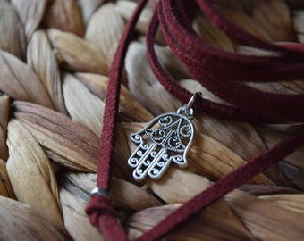 Hamsa hand charm choker | vegan | pick your color | bolo necklace | bohemian | black choker | essential oil diffuser necklace | gift for her