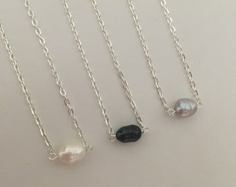 Baroque Pearl necklace on chain silver choice of length