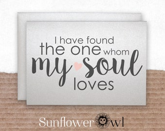 I have found the one whom my soul loves song of solomon card love note to bride from groom wedding day card engagement party