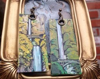 Multnomah Falls - pdx hand-painted earrings - Portland, Oregon waterfall