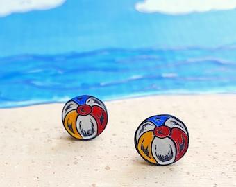 Beach Ball Stud Earrings, Beach Ball Post Earrings, Summer Jewelry, Daughter Gift, Girlfriend Gift, Beach Jewelry, Beach Fashion