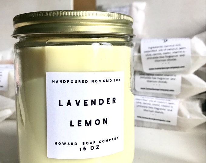 Featured listing image: LAVENDER LEMON >> handpoured soy candle/phthalate free/minnesotamade