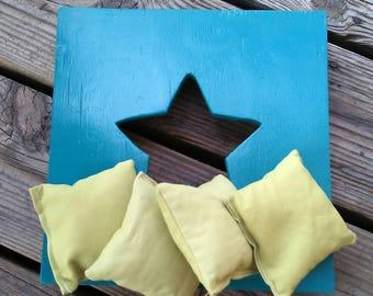 Handcrafted Blue Painted Wooden Toss Board with Star Center