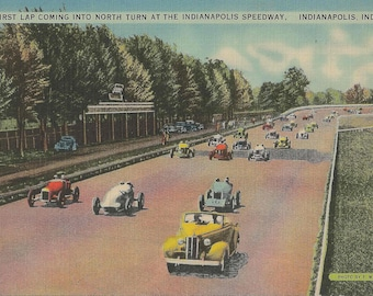 Vintage 1950's Vintage Linen Postcard of First Lap Coming into North Turn at the Indianapolis Speedway in Indianapolis Indiana