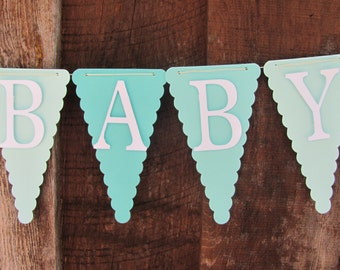 Baby Shower Banner, Baby Shower Decorations, Aqua, Teal, White, Gray