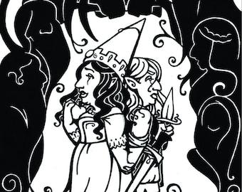 4x6 inch gnome gnomes fairy tale fantasy art print, Sisters Lost