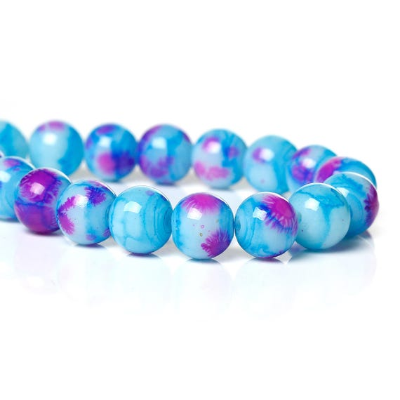 Set of 10 beads - blue and pink - 8 mm
