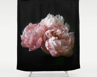 Shabby Chic Shower Curtain, Pink Peony Shower Curtain Boho, Floral Bath Curtain, Boho Bathroom Decor, Pink, Black