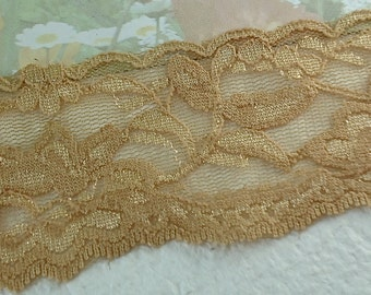 1yd Stretch Lace 2 inch Tan Elastic Ribbon Lace Trim Elastic Stretch Lace Headbands Elastic Lace by the yard