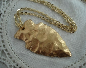 Gold Arrowhead Pendant Necklace Native Tribal Inspired Southwest