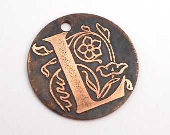 Handmade letter L charm, round flat etched copper initial focal point, 25mm