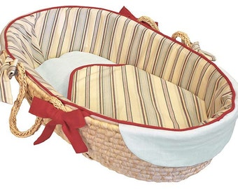 Stellar Stripes Baby Moses Basket - Tailored Trim