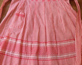 Red Gingham Half Apron with Cross Stitching - One Pocket