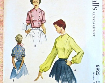 Vintage 1950s Womens Blouse Pattern with Front Panel Detail - McCalls 8925