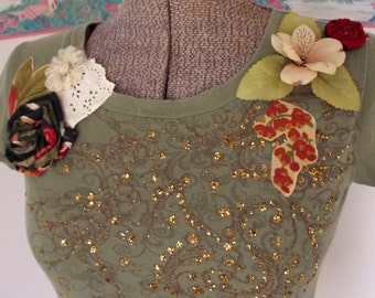 Collage Top, Olive Green Shirt, Boho Top, Altered Couture, Green, Gold, Handmade Flowers, Lace, Mori Girl, Festival Clothing