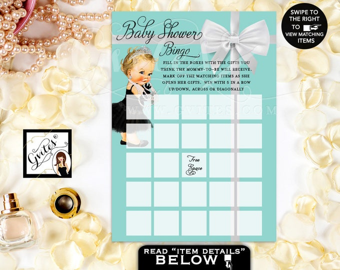 "Baby and co baby shower games, Breakfast at Audrey Hepburn Baby Girl bingo Cards Printable, 5x7""/2 Per Sheet."