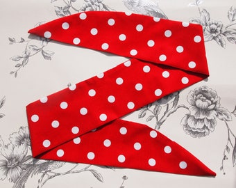 50s Vtg Red Polka Dot Head Scarf With Wire or Not - Rockabilly Psychobilly Cute