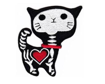 Ak12 Cat skeleton Heart Tattoo Patch size 7.5 x 8.1 cm