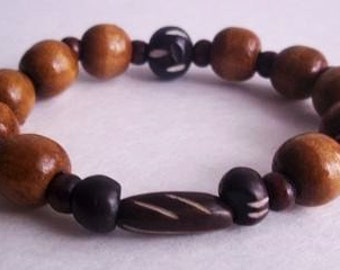 Men's caramel and brown wood bracelet