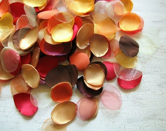 Satin, organza leaf appliques, petals,  fabric embellishments (50pcs)- PILE of  LEAVES (Fall Shades of Red, Yellow, Gold, Orange, Brown)